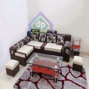 Thanh lý bàn ghế sofa góc nỉ màu xám điểm họa tiết hoa