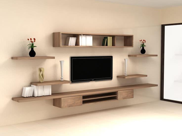 Kệ trang trí tivi gỗ cao cấp, gắn trên tường rất tiện dụng